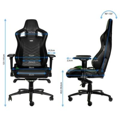 Gamer szék noblechairs EPIC PU Bőr Fekete/Zöld