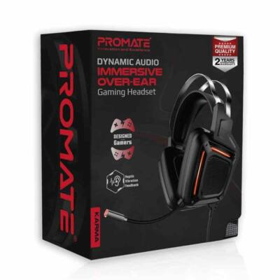 Promate  Karma Dynamic Audio Immersive Over-Ear Wired Gaming Headset Black