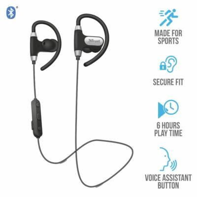 Trust Usan Bluetooth Wireless Sports Earphones Black